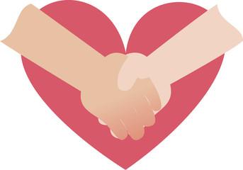 握手する手とハート
