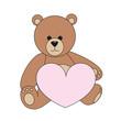 Braunbär mit rosa Herz