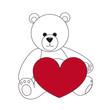 Eisbär mit rotem Herz
