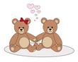 Teddy Pärchen verliebt