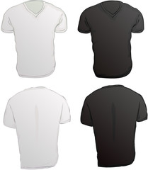 vector illustration of black and white v neck shirts template