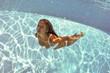 Girl portrait posing underwater with white bikini.