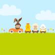Bunny Car Pulling Duck, Sheep & Egg