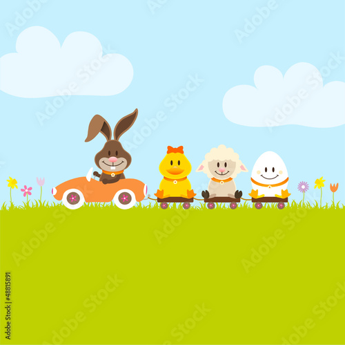 Bunny Car Pulling Duck, Sheep & Egg