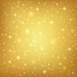 Fototapety Abstract golden background with sparkling stars. Vector