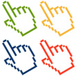 Pixelgrafik Hand - Zeigefinger bunt