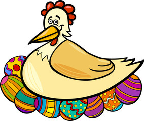 hen hatching easter eggs cartoon illustration