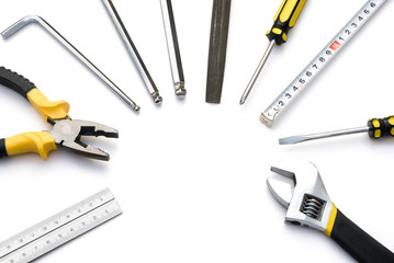 tools lined up as a circle with clipping path