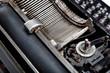 Mechanism of old typewriter close-up.