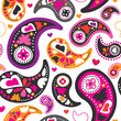 Seamless oriental persian paisley background pattern in vector