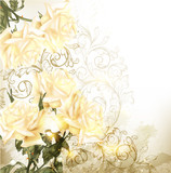 Background with pretty beige roses in vintage style