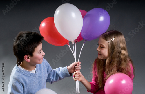 The children with balloons
