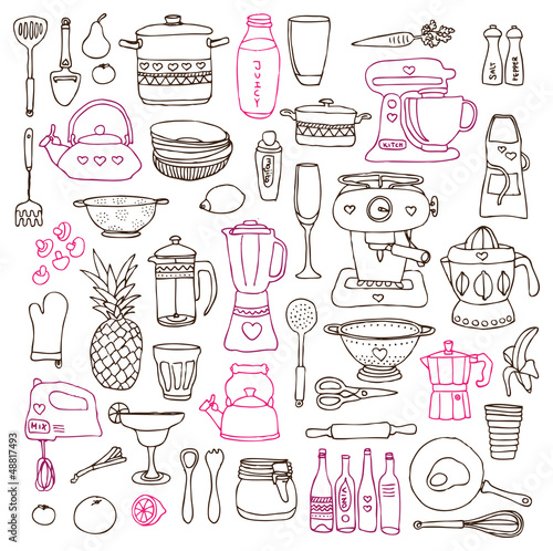 Kitchen food cooking illustrations drawings in vector