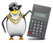 Penguin rapper by a calculator