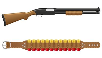 shotgun and shells in bandoliers vector illustration