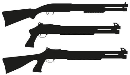 shotgun black silhouette vector illustration