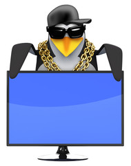 Penguin rapper looks over a widescreen tv