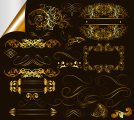 Collection of calligraphic golden design elements and page decor