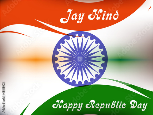 Vector illustration of  Republic Day in smooth wave with shiney