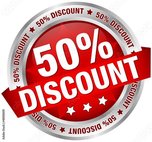 "Button Banner ""50% Discount"" rot/silber"