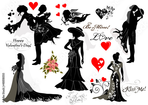 Collection of vector silhouettes groom and bride couples