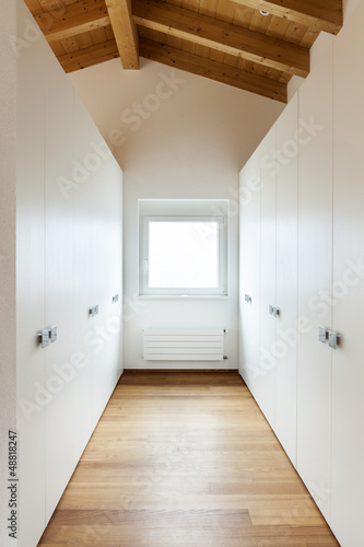 Beautiful modern loft, view of the wardrobes