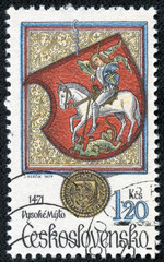 stamp shows coat of arms of a Vysoke Myto with St George