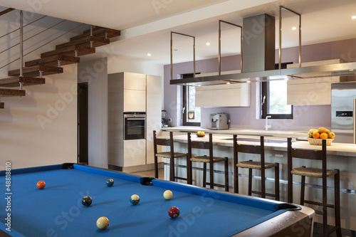 interior of beautiful modern apartment, billiards