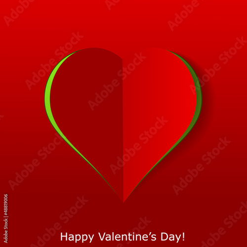 Abstract paper heart on red background. Valentines day greeting