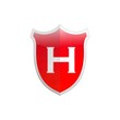 Secure shield letter H.