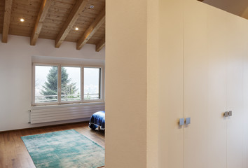 Beautiful modern loft, .bedroom view from passage