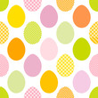 Seamless Pattern Easter Eggs Stripes/Dots/Check Green