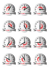Uhren zeigen Öffnungszeit