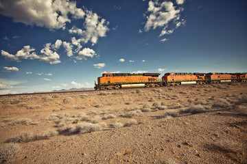 Cargo locomotive railroad in Arizona desert