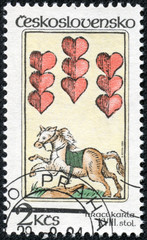 stamp printed in Czechoslovakia shows a horse and hearts