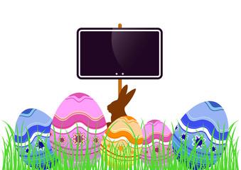 Oeufs dans l'herbe avec pancarte - Horizontal - Pâques