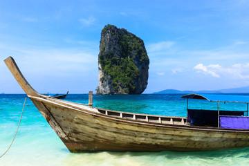 Long tail boats and Tropical paradise island, Andaman Sea,