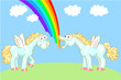 Two cartoon horse with wings and a rainbow