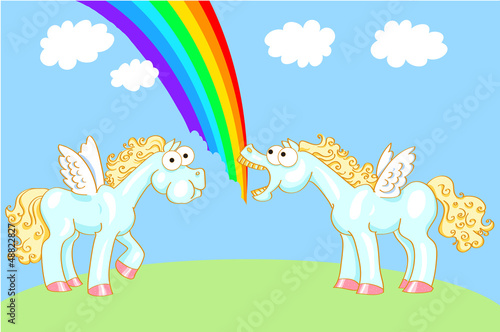 Poster Pony Two cartoon horse with wings and a rainbow