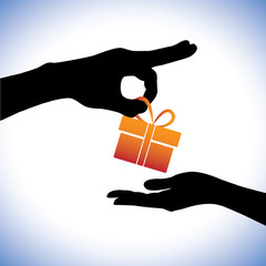 Concept illustration of person giving gift package to the receiv