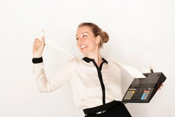 Geschäftsfrau mit Beleg