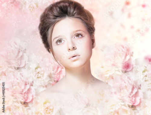 Beautiful Woman Face. Natural Makeup. Floral Rose Pattern