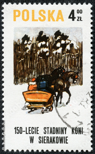 stamp printed in POLAND shows a Sledge, drawn by two horse