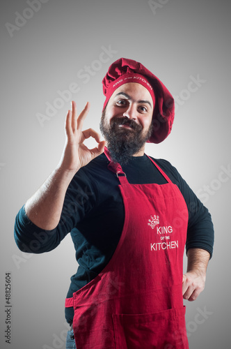 happy bearded chubby chef