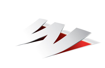 Paper folding with letter W in perspective view