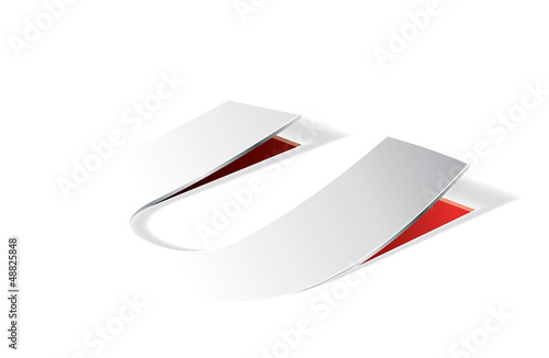 Paper folding with letter U in perspective view
