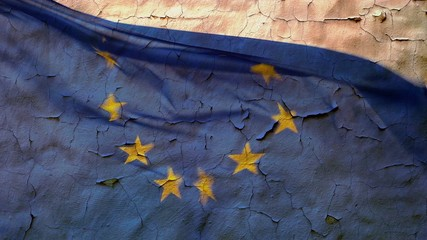 EU flag with the texture and background of old, cracked wall