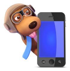 3d Pilot Dog hides behind a smartphone
