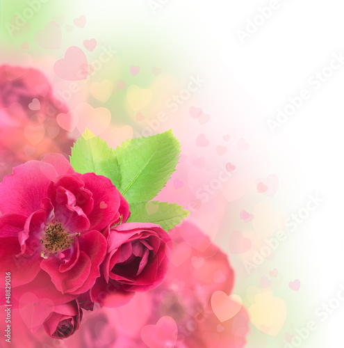 Valentine's Day or Wedding Card with Soft Hearts Background