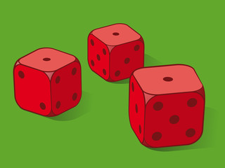 Three red dice on green